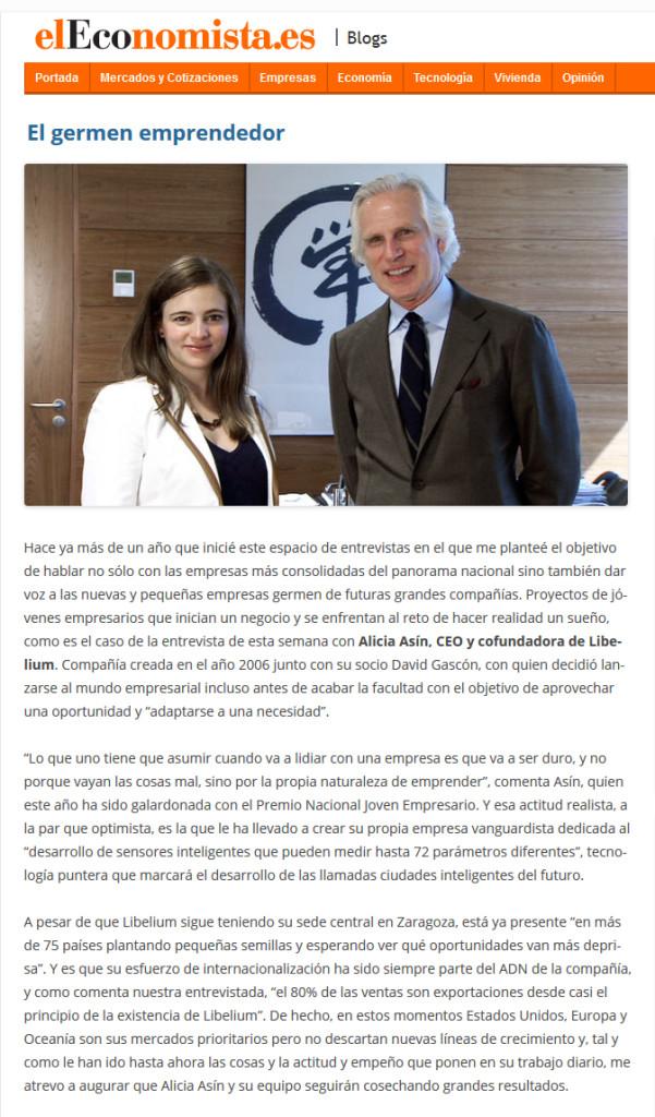 ElEconomista.es - Entrevista Alicia Asín El germen emprendedor