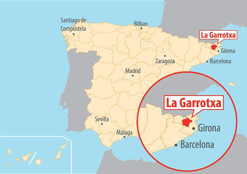 The region of La Garrotxa, located between the Pyrenees and the Costa Brava