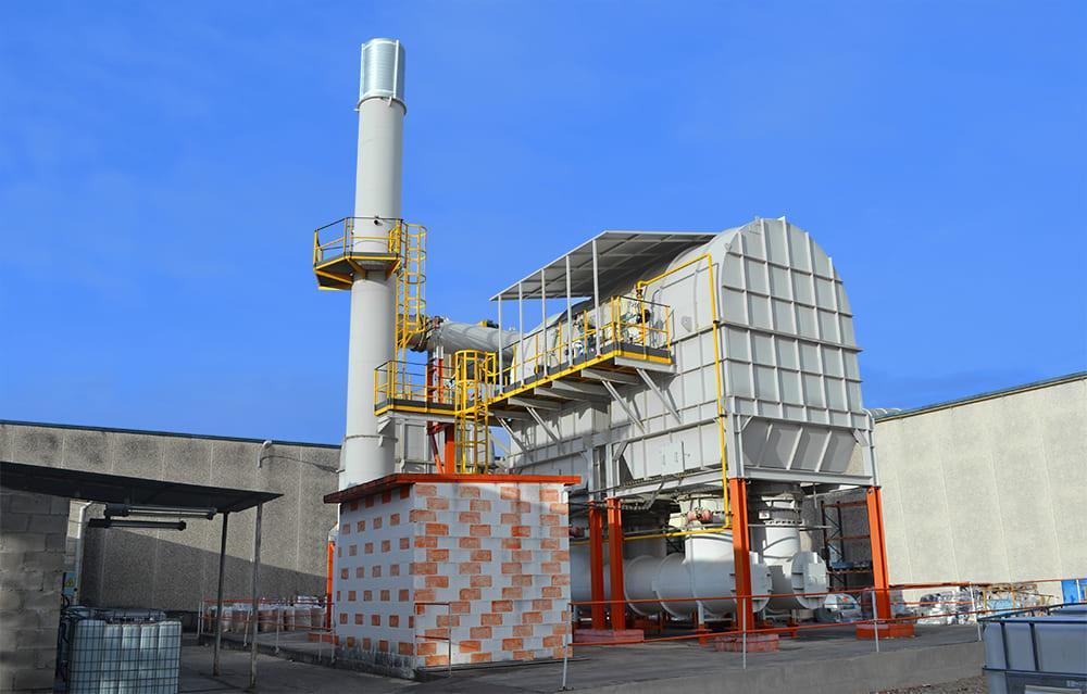 Evaporated VOCs are destroyed in Polibol incinerator plant