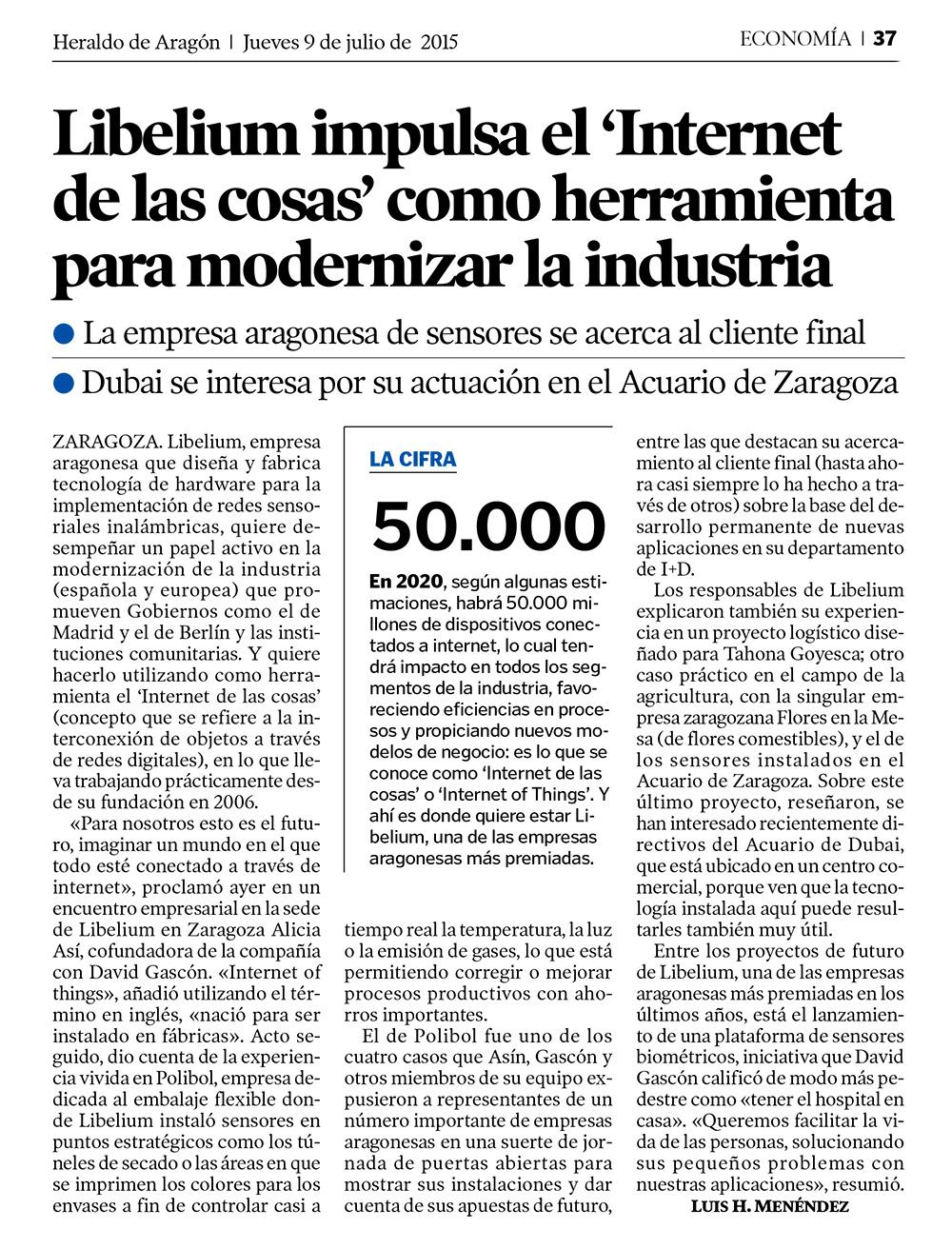 Heraldo de Aragón - Libelium impulsa el 'Internet de las cosas'