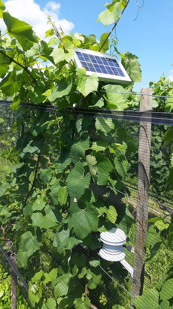 Node installation with solar panel