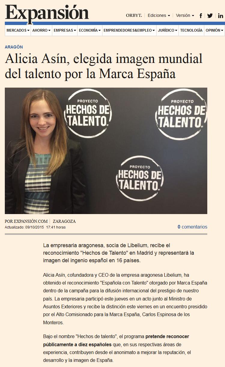 Hechos de Talento - Alicia Asín - Expansión
