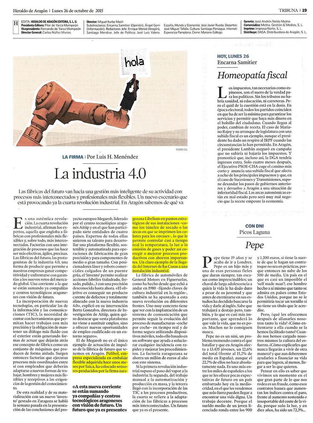 La industria 4.0 - Heraldo de Aragón