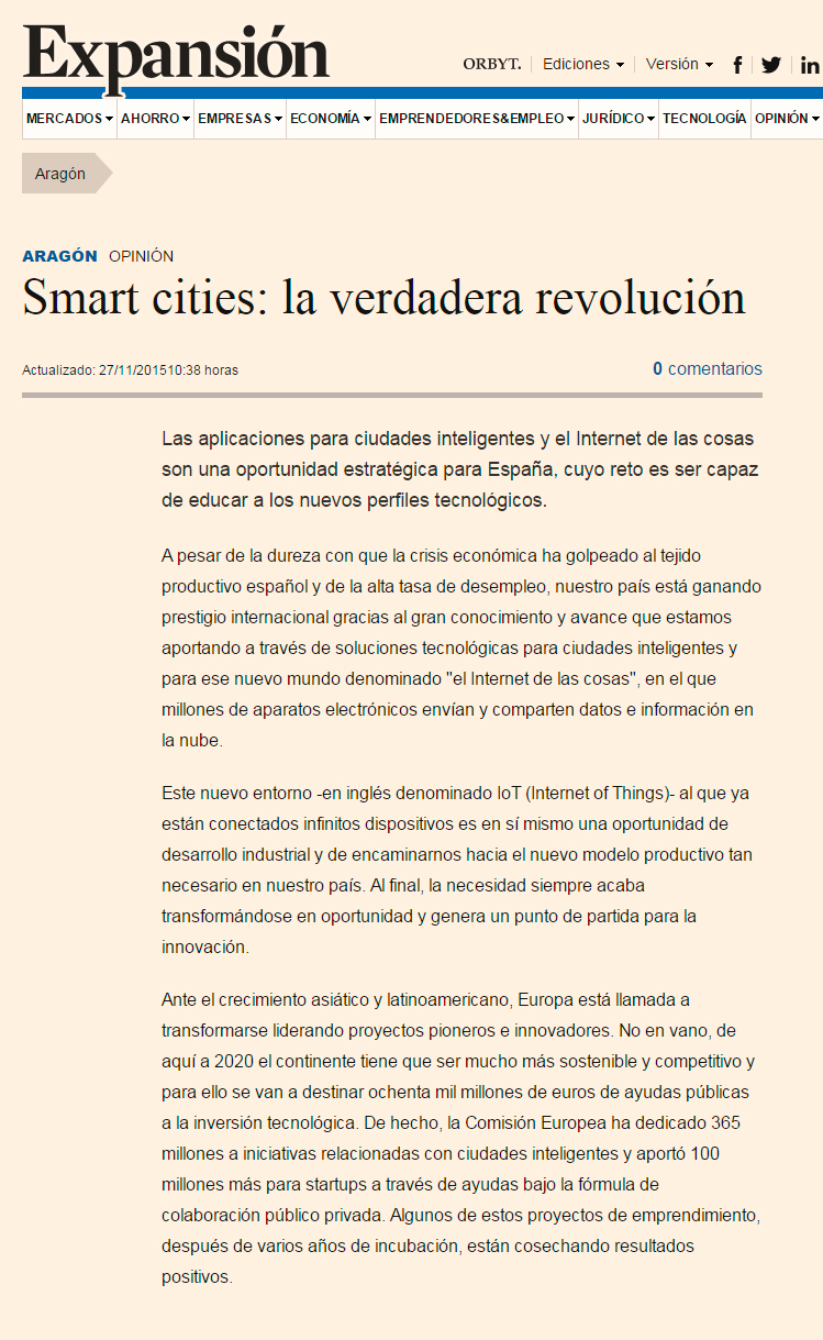 Expansion.com - Smart cities: la verdadera revolución