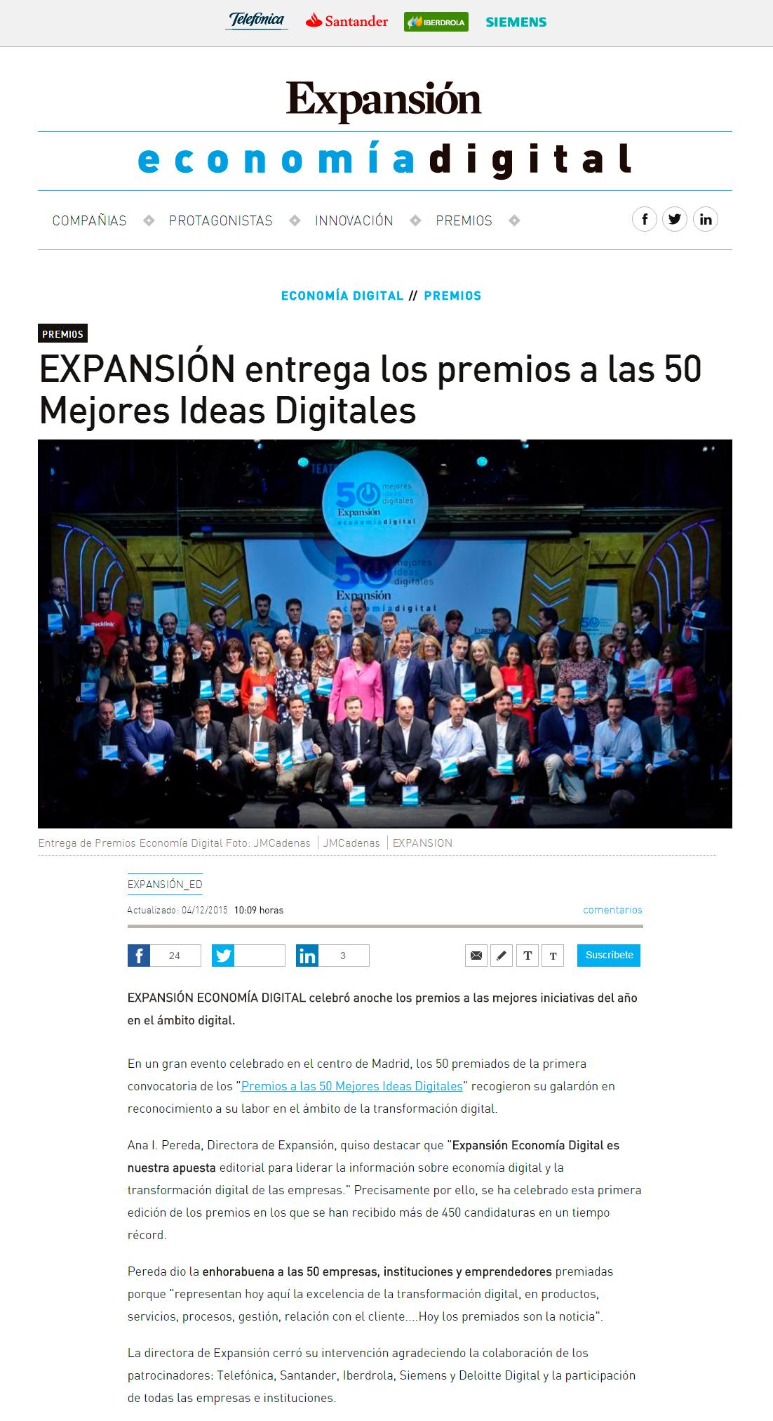 EXPANSIÓN entrega los premios a las 50 Mejores Ideas Digitales