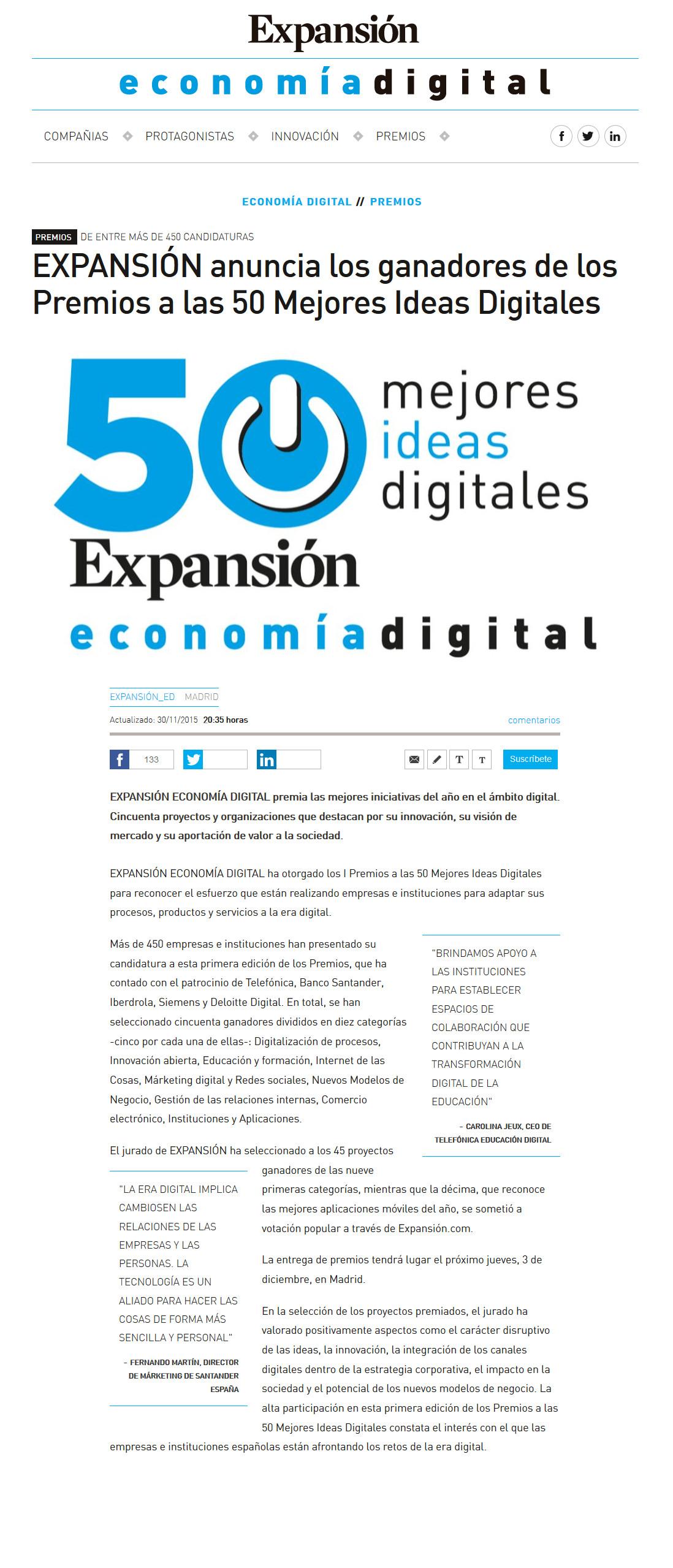 Expansión - 50 Mejores Ideas Digitales