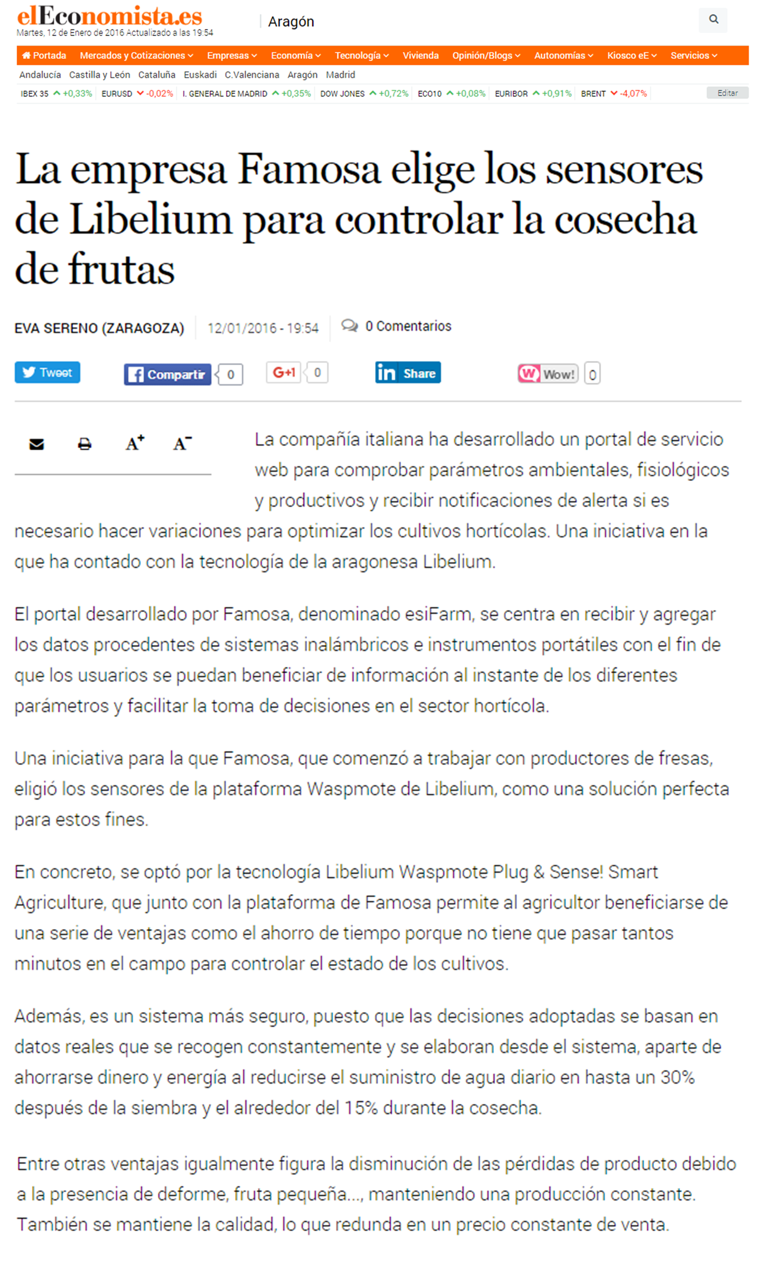 La empresa Famosa elige los sensores de Libelium para controlar la cosecha de frutas
