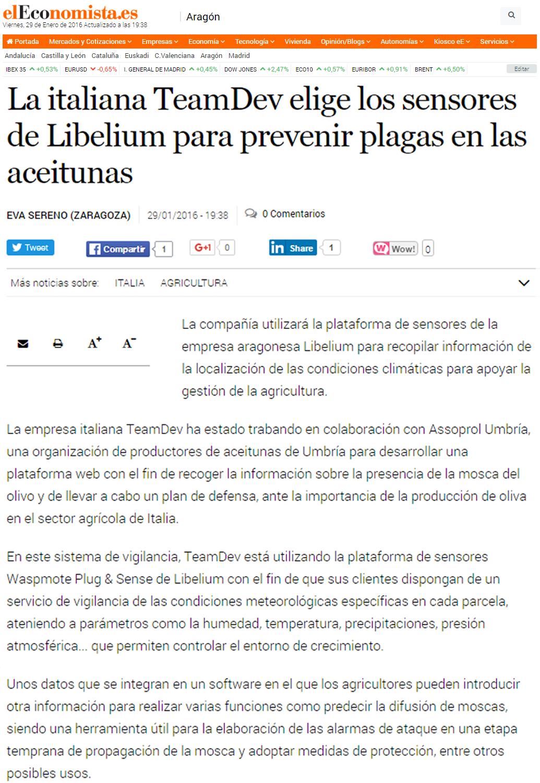 La italiana TeamDev elige los sensores de Libelium para prevenir plagas en las aceitunas