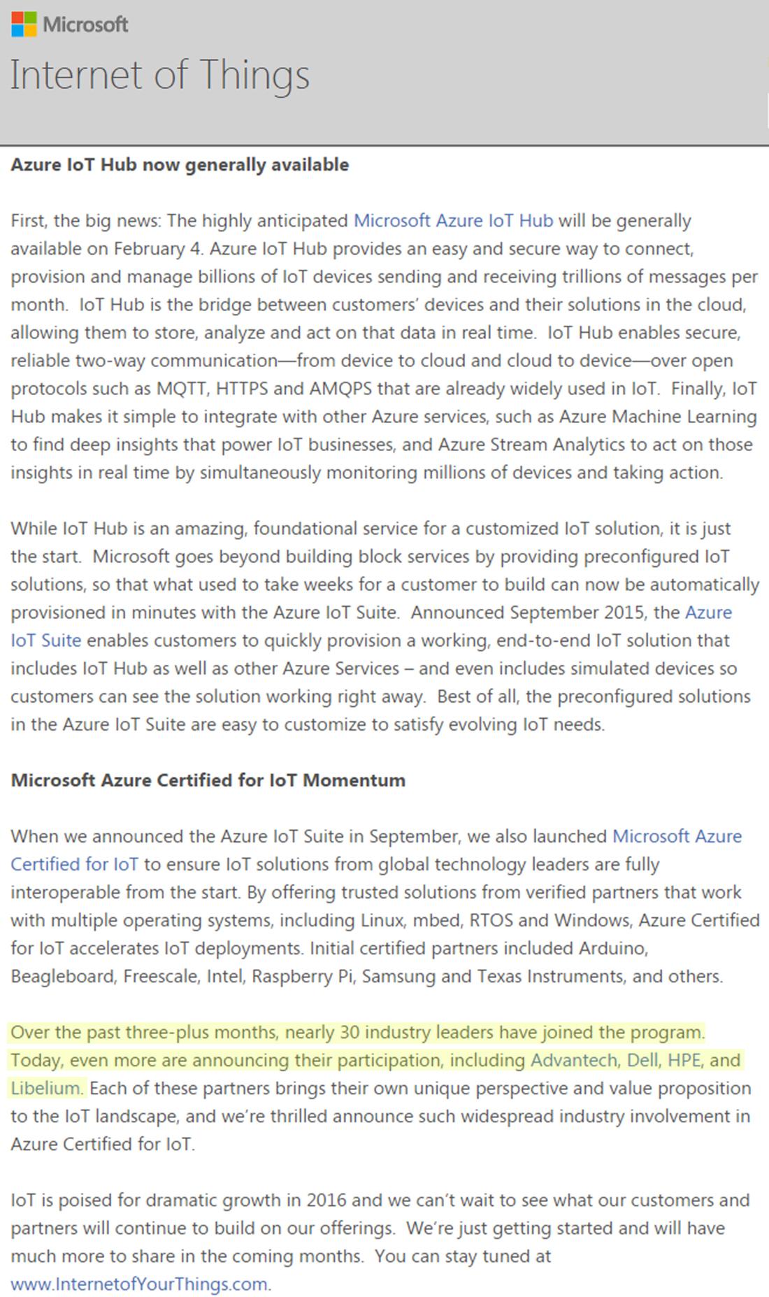 Libelium Microsoft Azure Certification