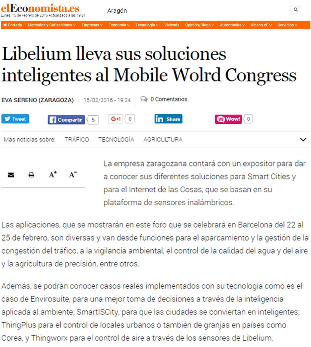 Libelium lleva sus soluciones inteligentes al Mobile Wolrd Congress
