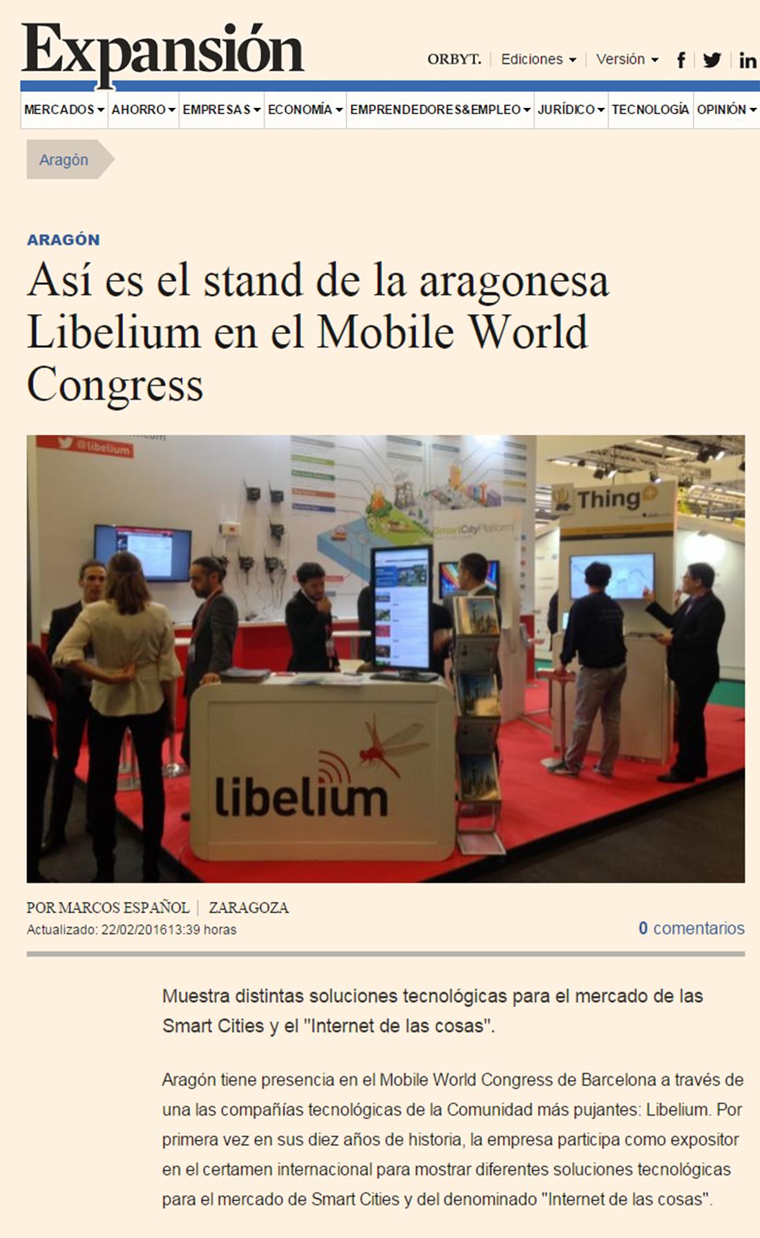 Así es el stand de la aragonesa Libelium en el Mobile World Congress