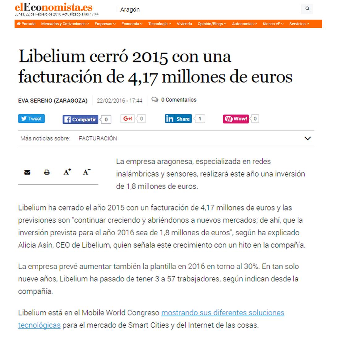 Libelium cerró 2015 con una facturación de 4,17 millones de euros