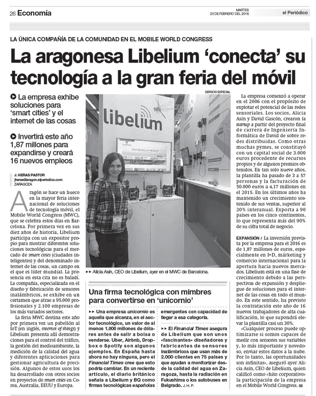 La aragonesa Libelium 'conecta' su tecnología a la gran feria del móvil