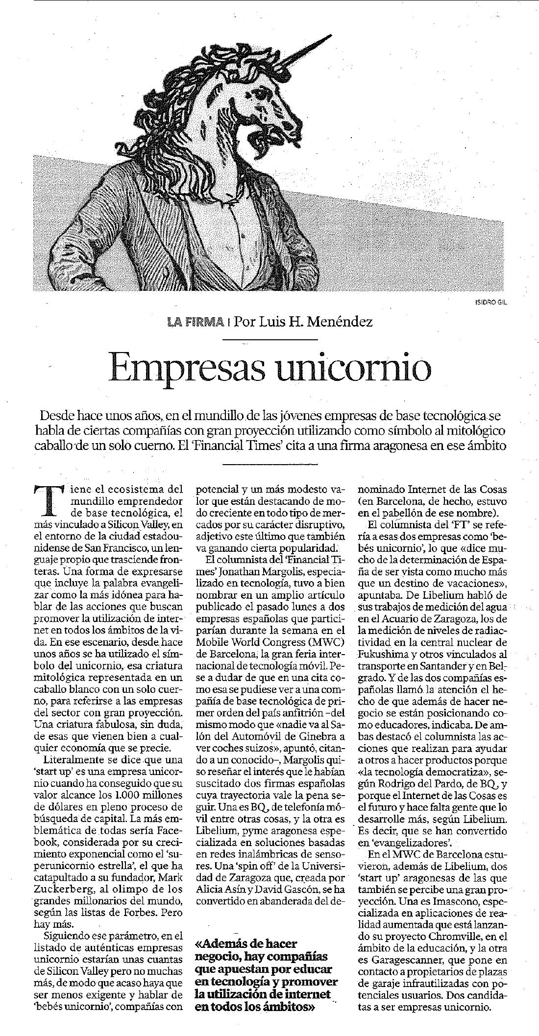 Heraldo de Aragón – Empresas unicornio | Libelium