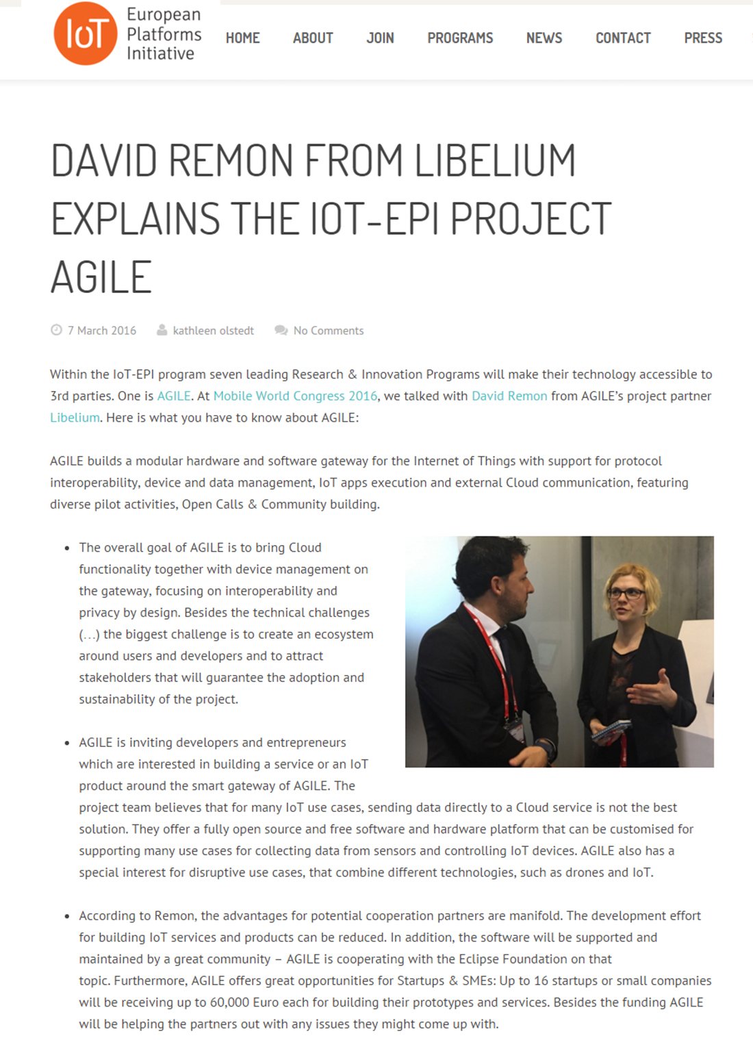 Iot-epi.eu – David Remon from Libelium Explains the IoT-EPI Project Agile