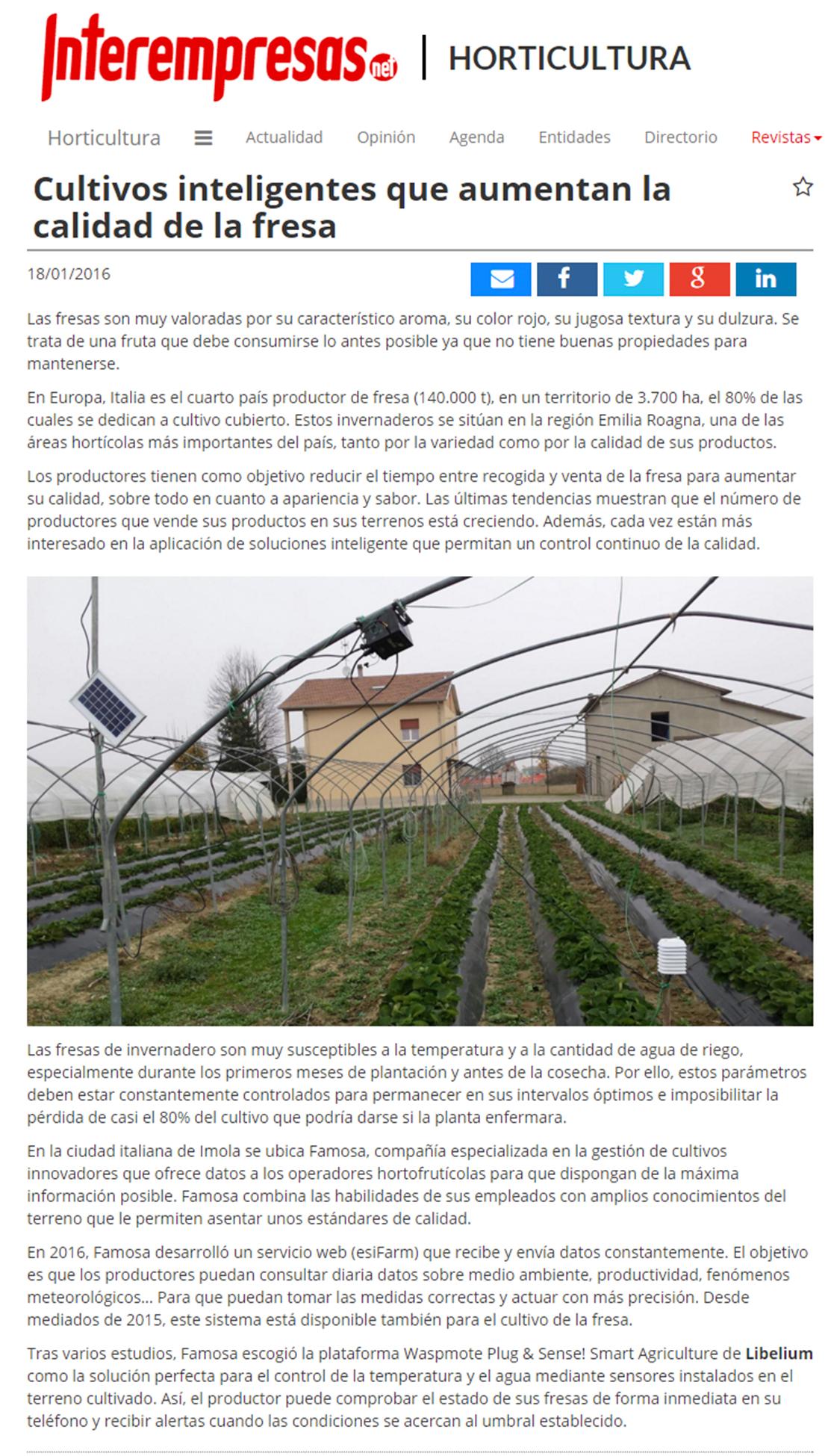 Interempresas.es – Cultivos inteligentes que aumentan la calidad de la fresa