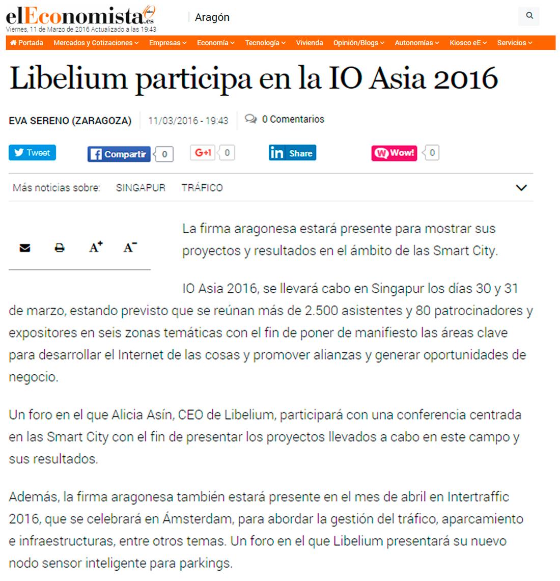 Eleconomista.es - Libelium participa en la IO Asia 2016