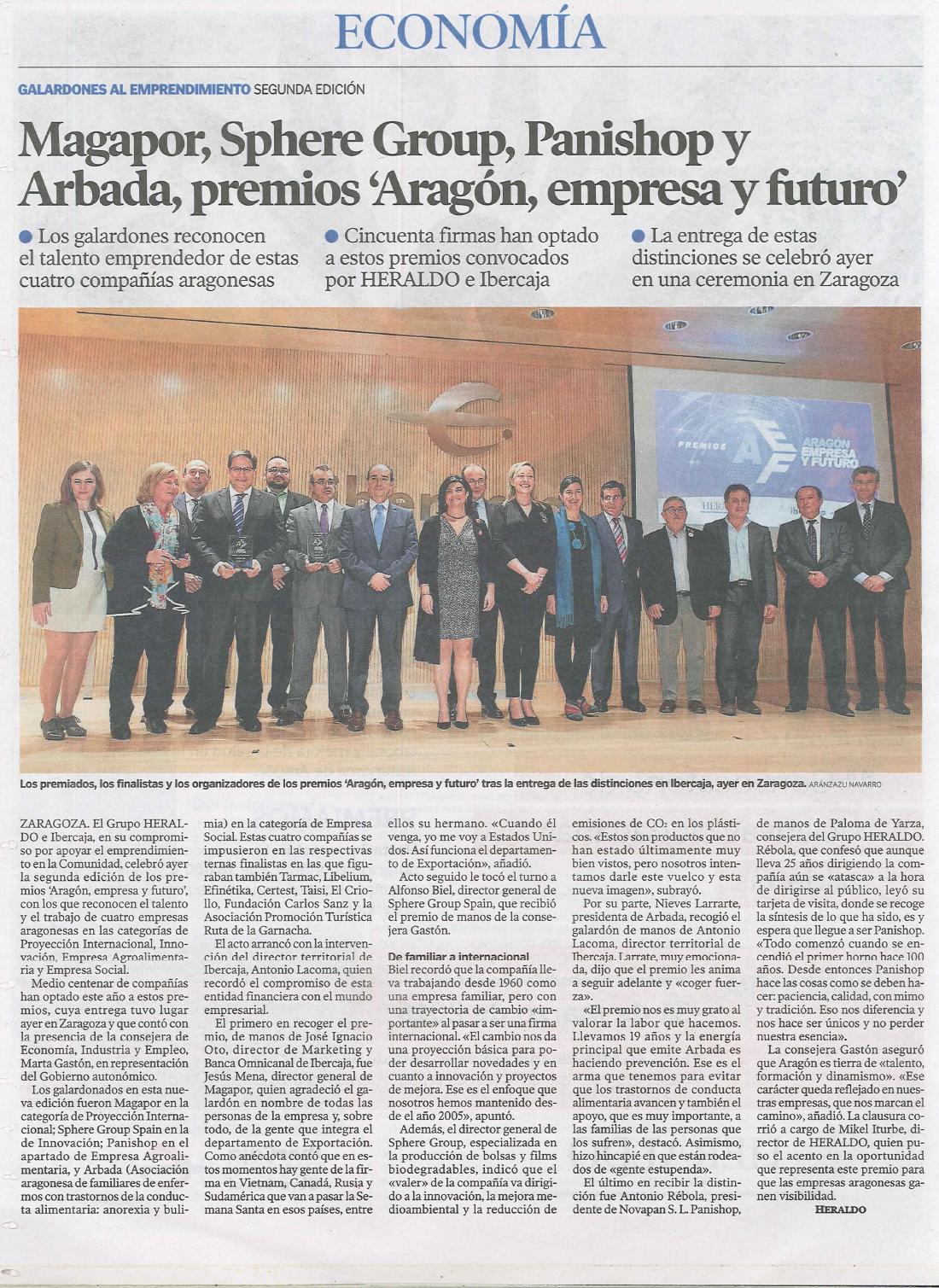Heraldo de Aragón – Premios Aragón, Empresa y Futuro