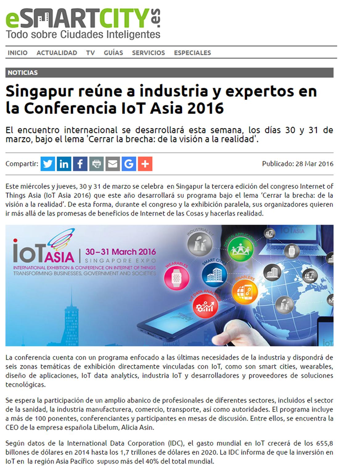Esmartcity.es – Libelium en IoT Asia