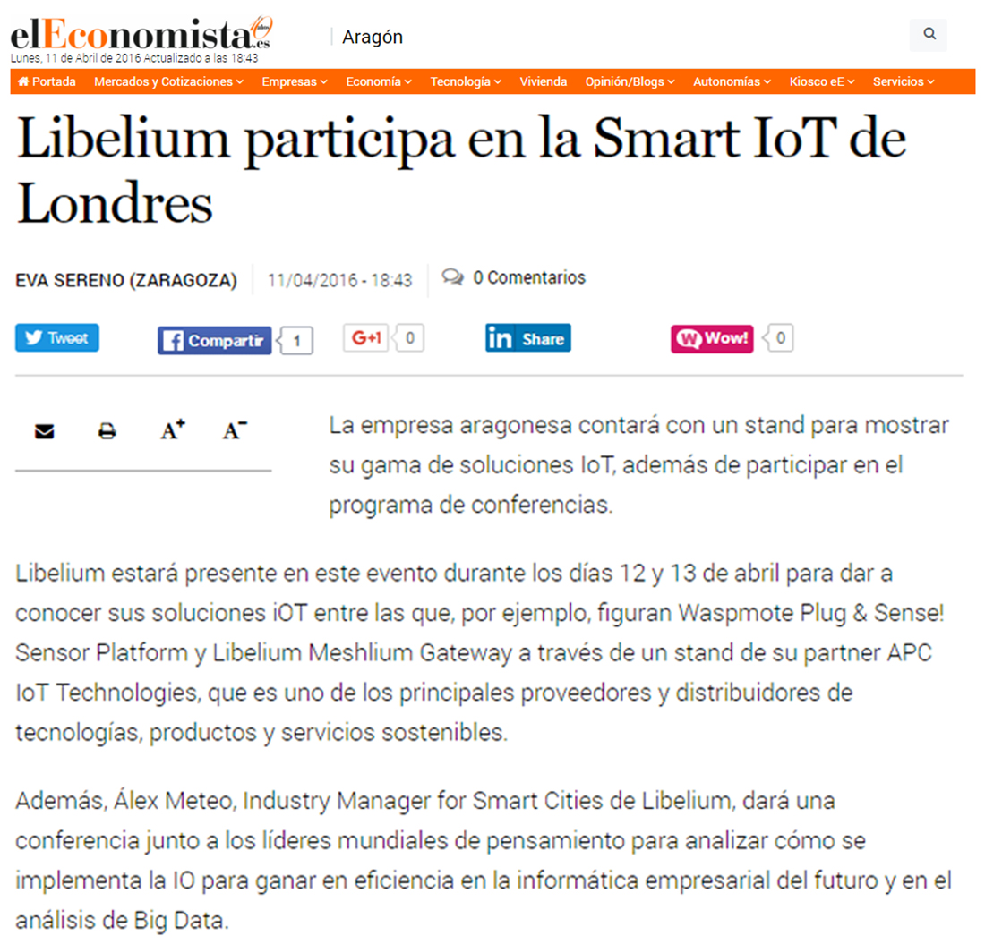 Libelium participa en la Smart IoT de Londres