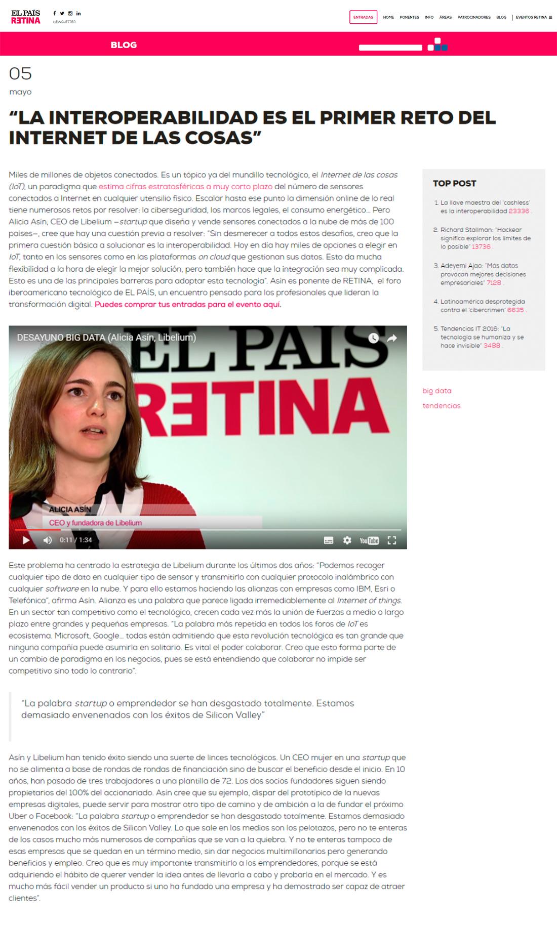 ElPaisRetina.com – La interoperabilidad es el primer reto del Internet de las Cosas