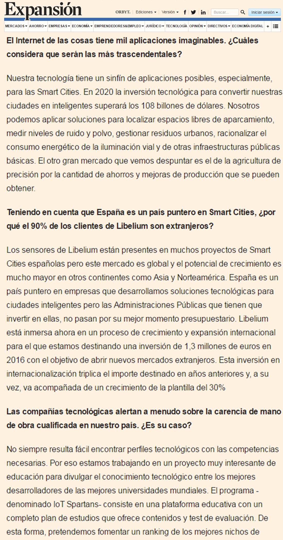 Expansión.com – El crecimiento de Libelium