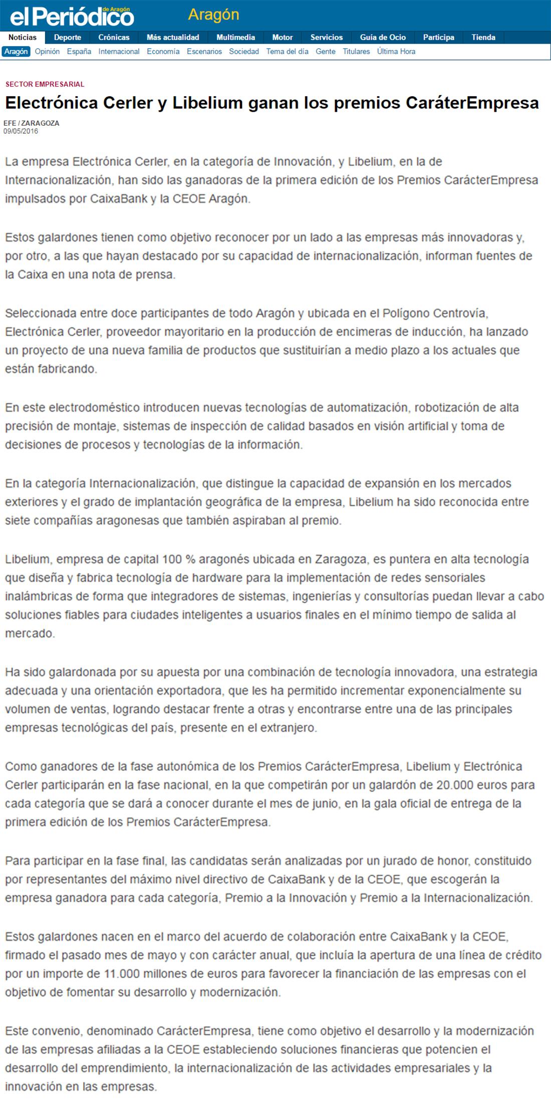 El Periódico de Aragón – Electrónica Cerler y Libelium ganan los premios CaráterEmpresa