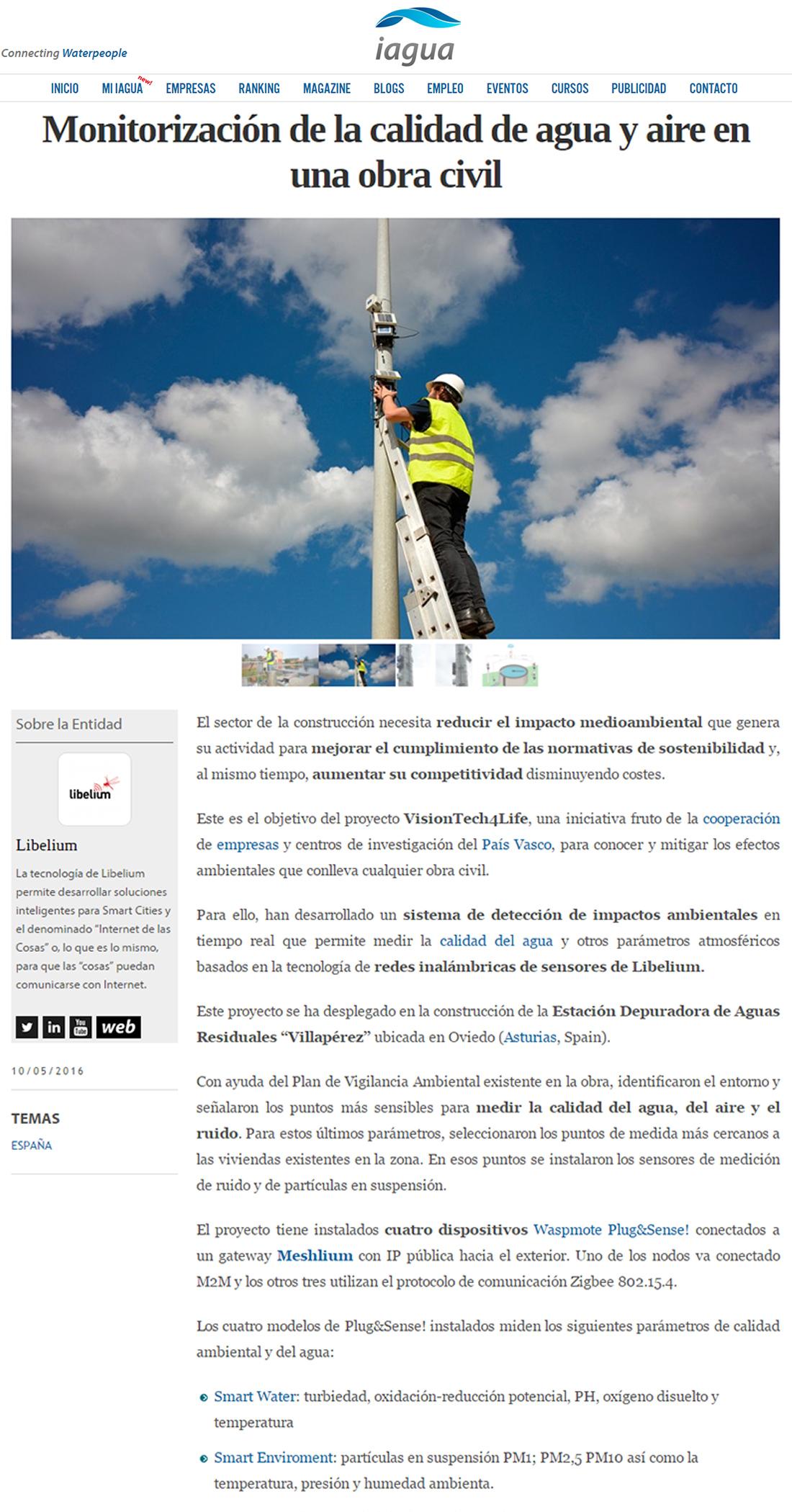 Iagua.es – Monitorización de la calidad de agua y aire en una obra civil