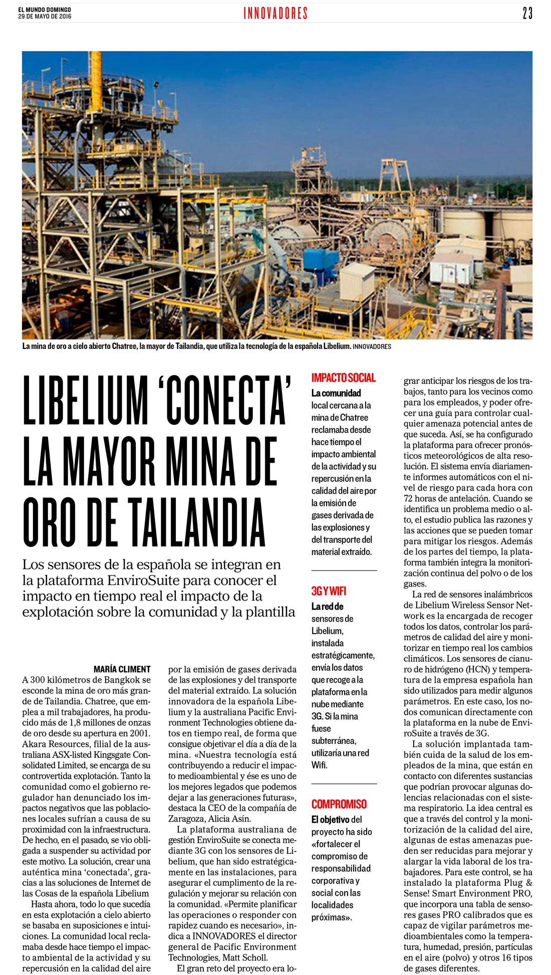 El Mundo – Libelium 'conecta' la mayor mina de oro de Tailandia