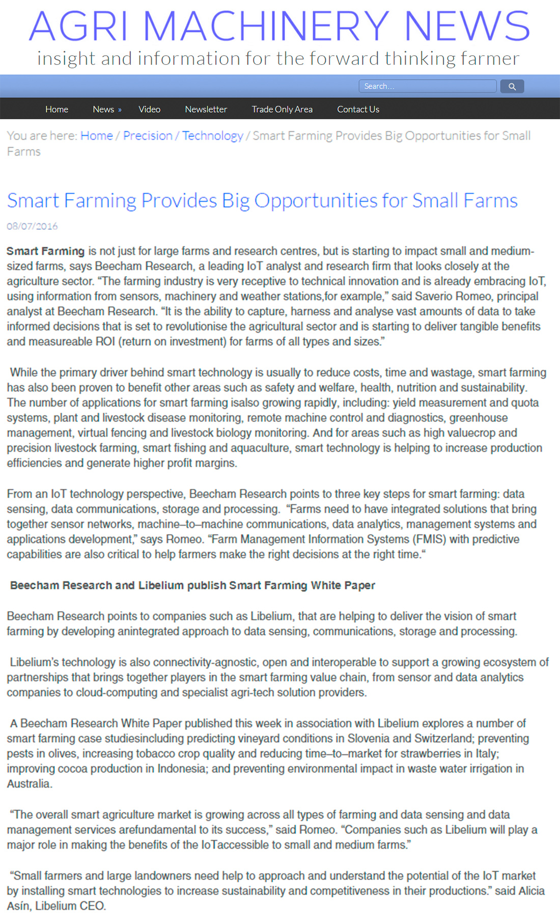 Agri Machinery News – Smart Farming Provides Big Opportunities