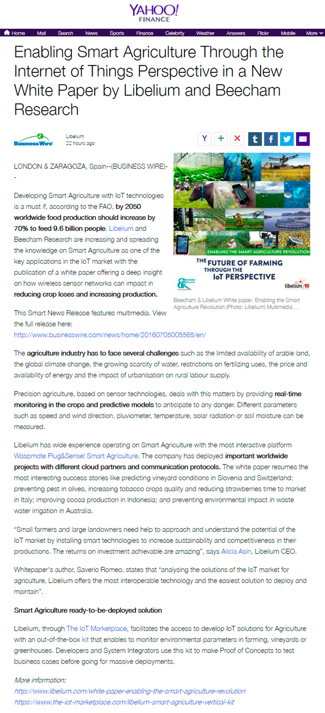 Yahoo! Finance – White Paper Enabling Smart Agriculture Revolution