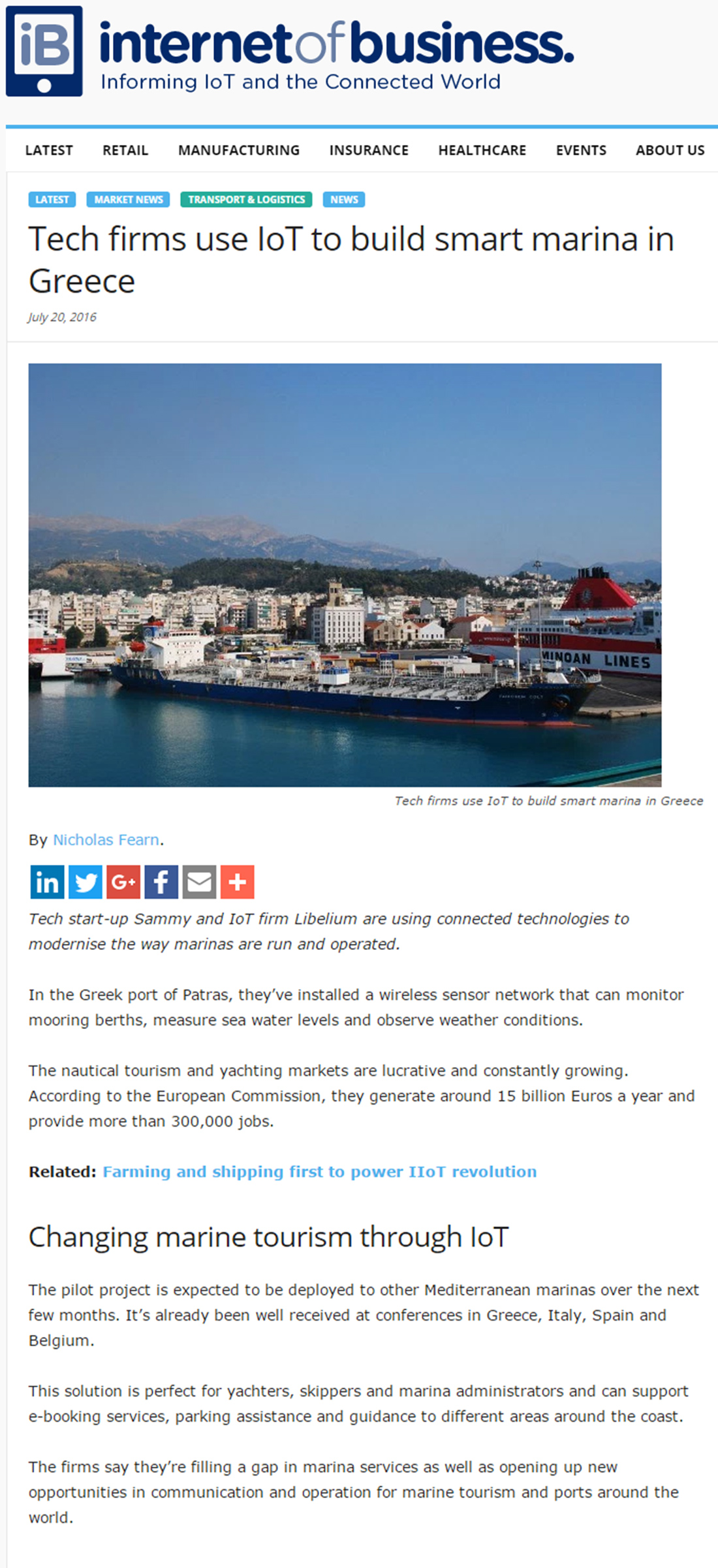 Tech firms use IoT to build smart marina in Greece