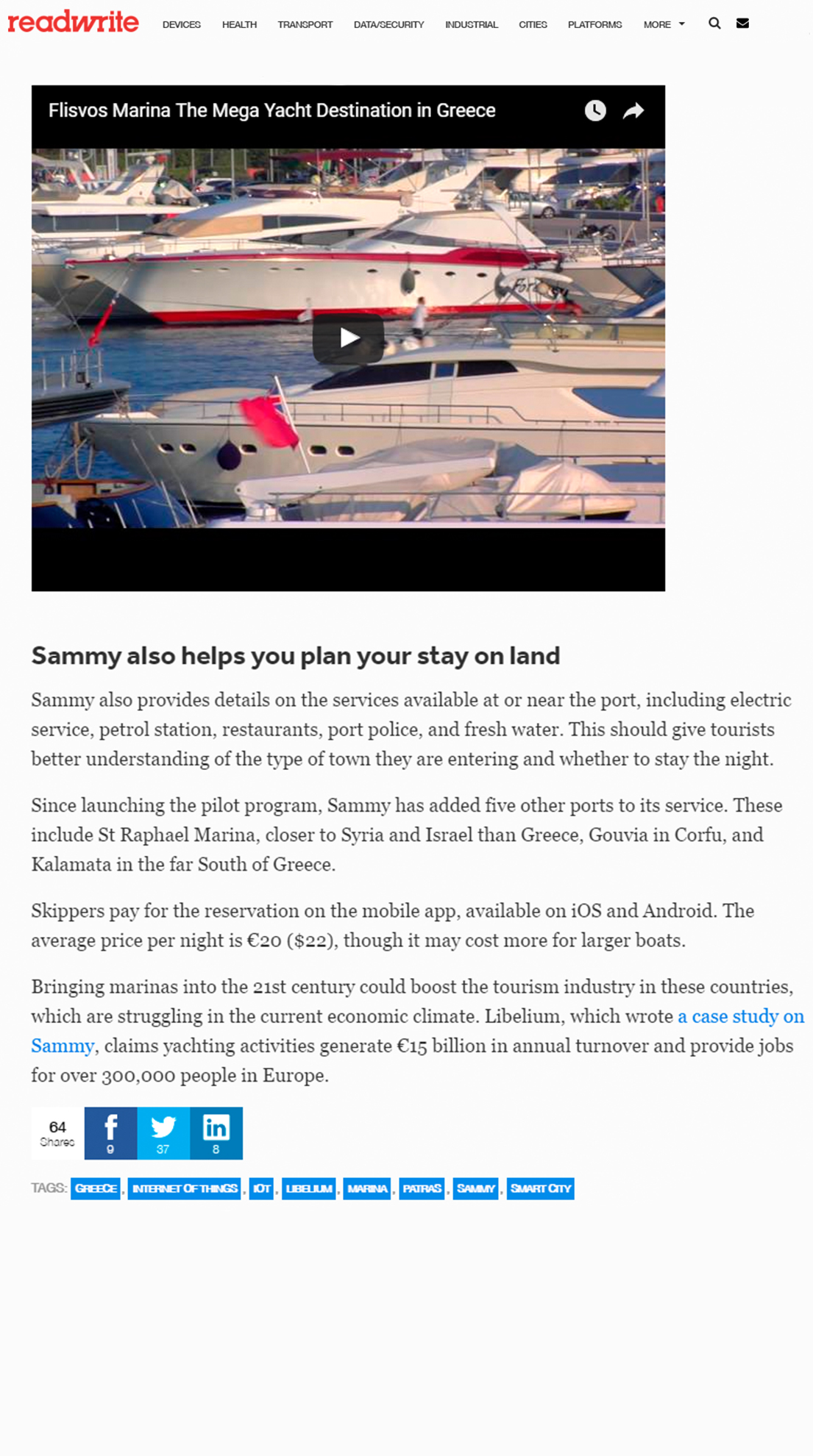 Readwrite – Greek startup Sammy guides boats to shore — and parking