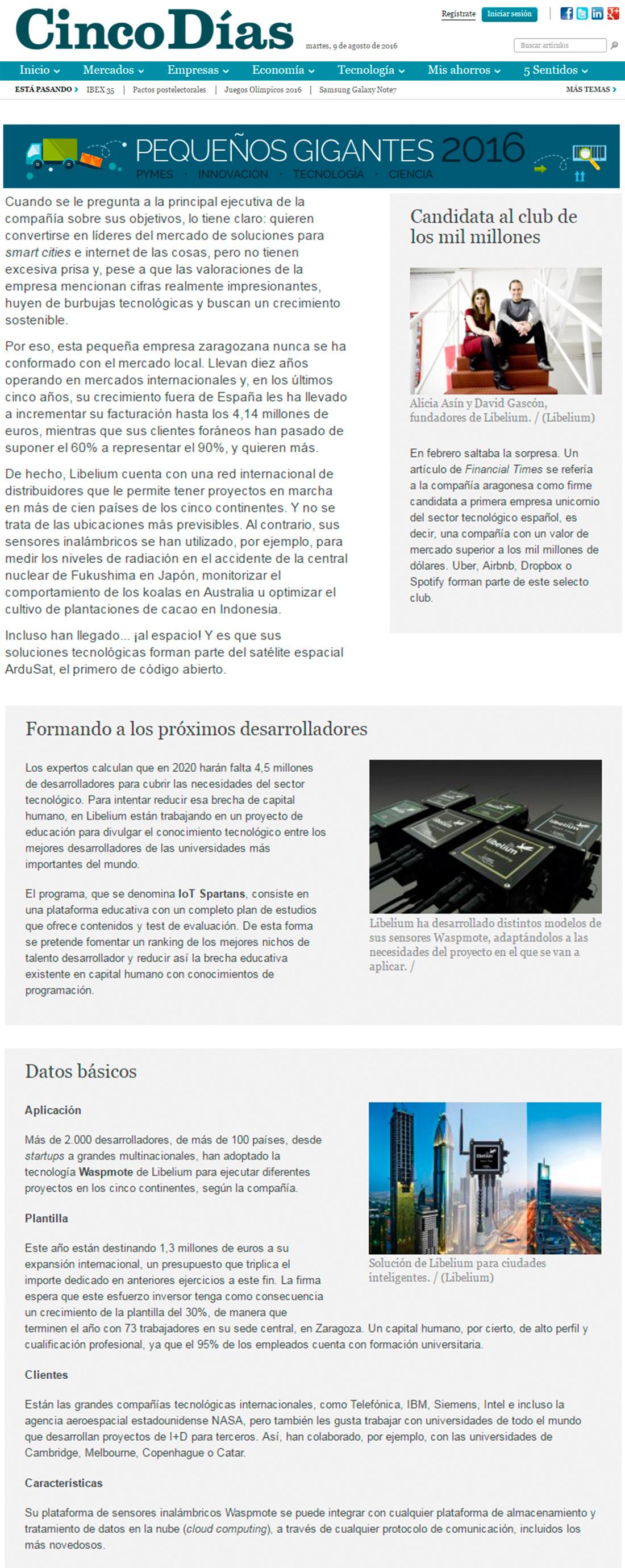 Cinco Días – Desde el espacio comunican con Zaragoza