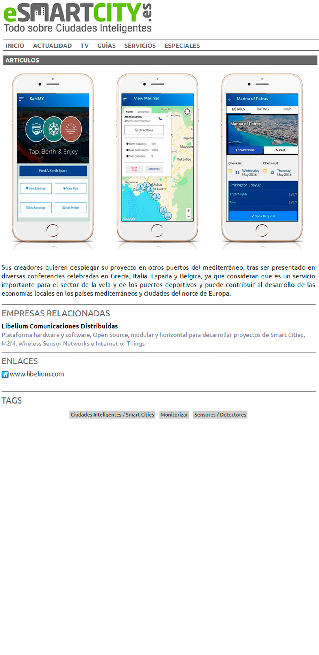 Esmartcity.es – Una red inalámbrica de nodos para monitorizar la Marina de Patras