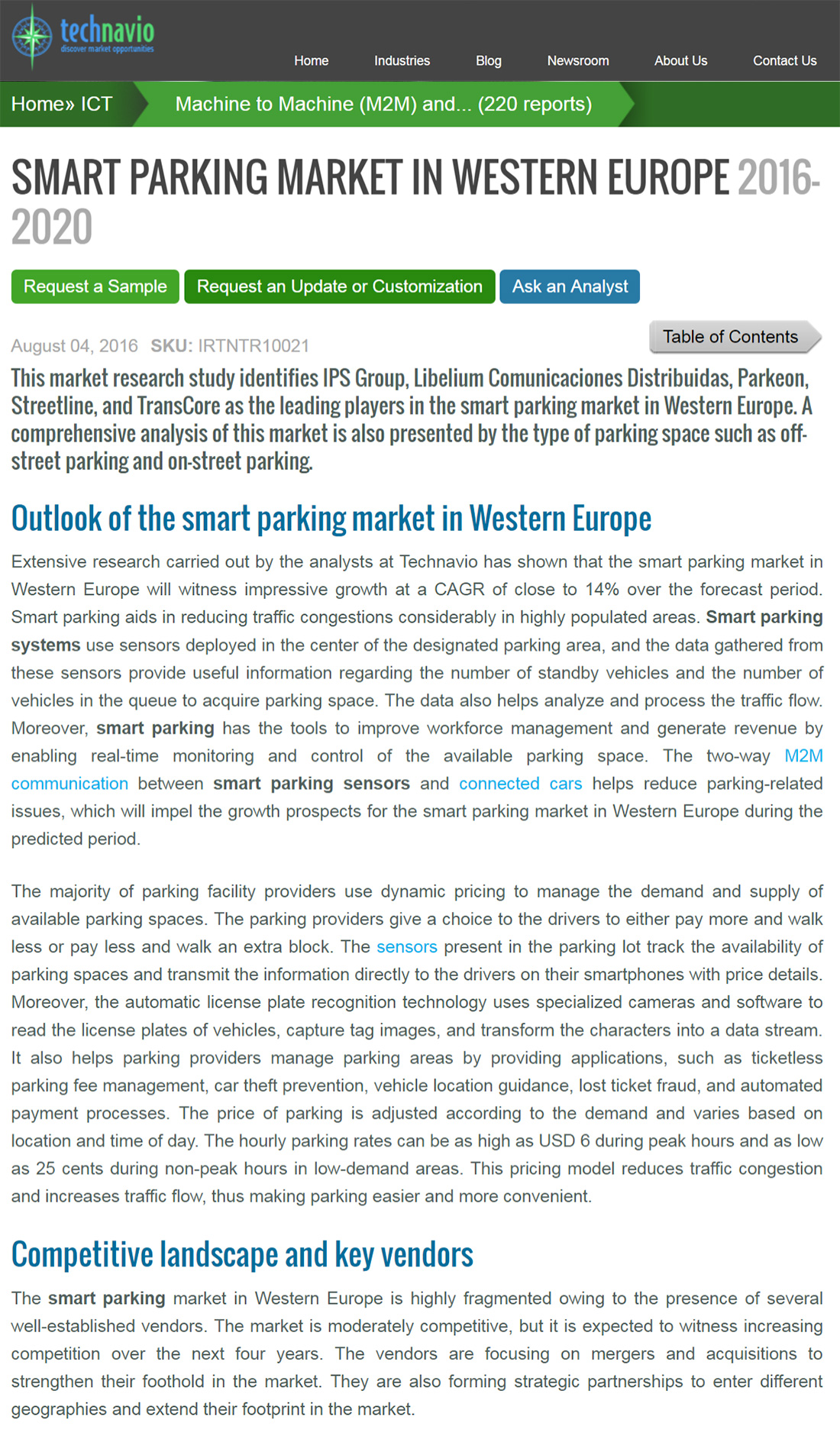 Smart Parking Market in Western Europe 2016-2020