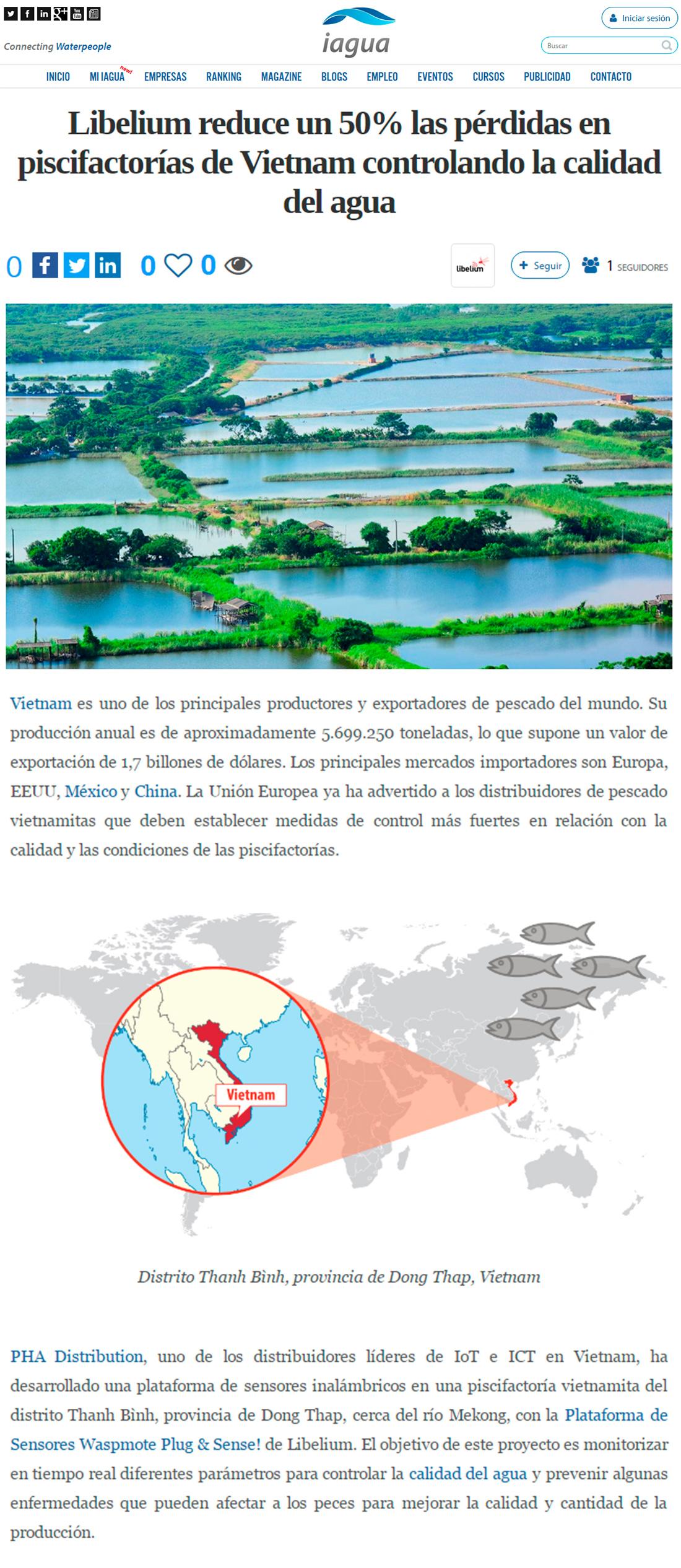 Iagua.es – Libelium reduce un 50% las pérdidas en piscifactorías de Vietnam