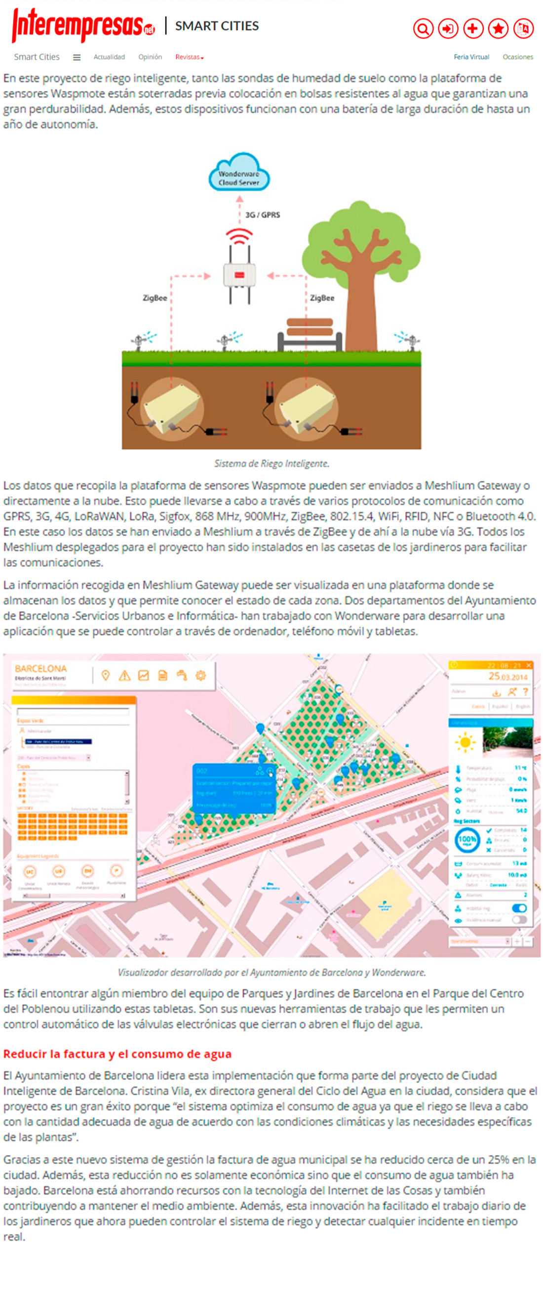 Interempresas.net – Sistema de riego inteligente en Barcelona