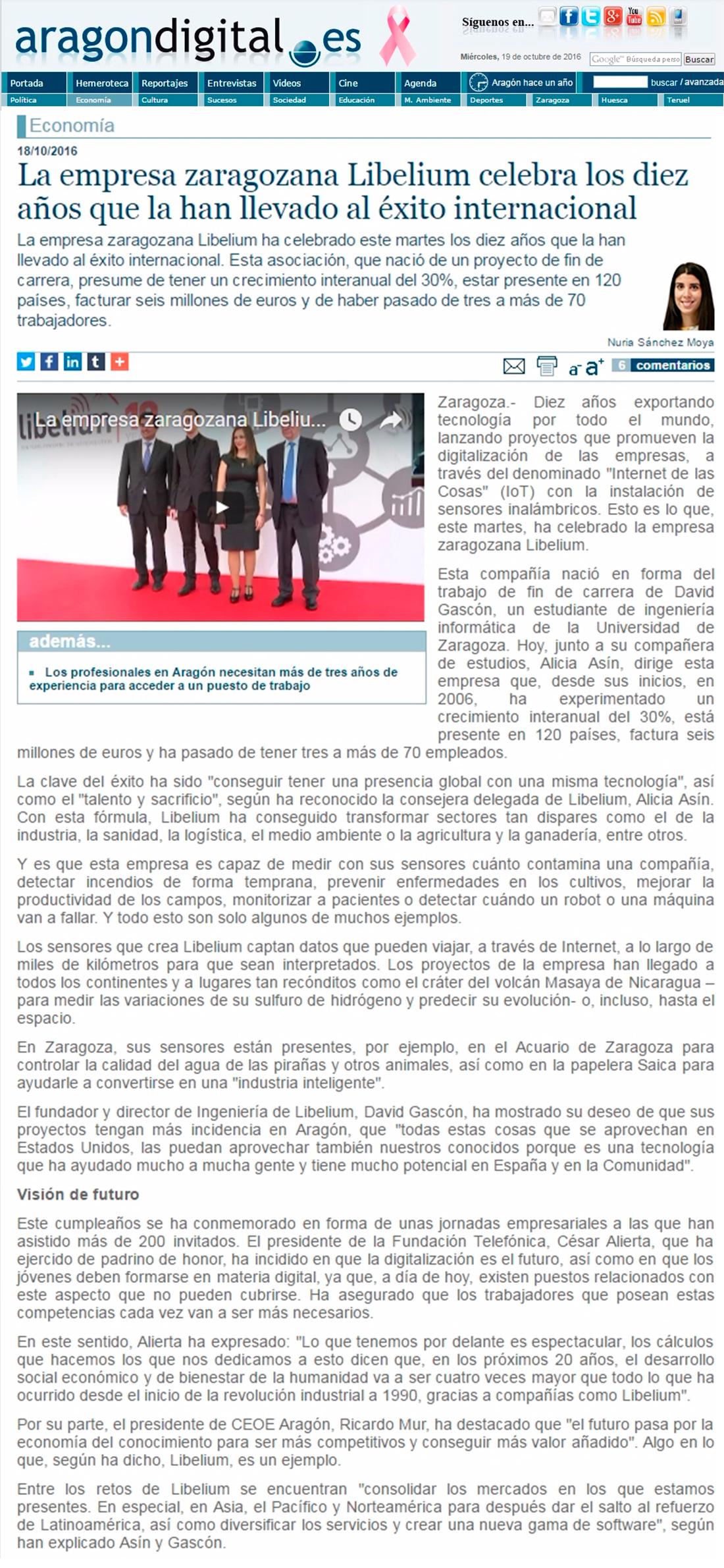 Aragondigital.es – La empresa zaragozana Libelium celebra diez años