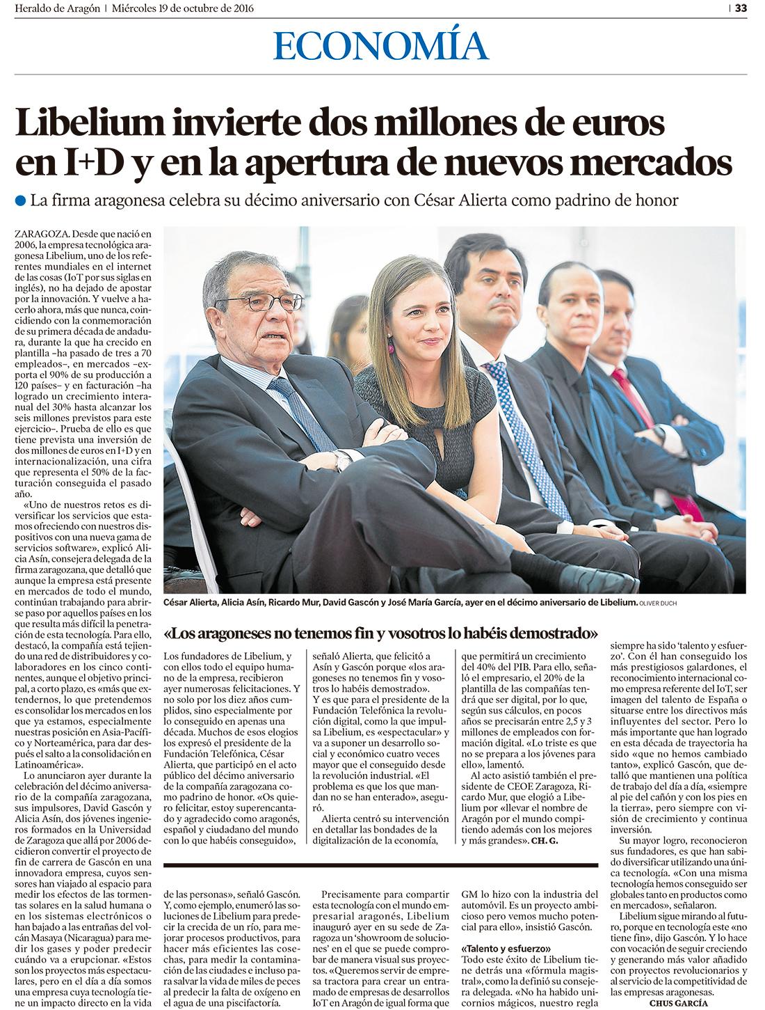Heraldo de Aragón – Libelium invierte 2 millones de euros en I+D