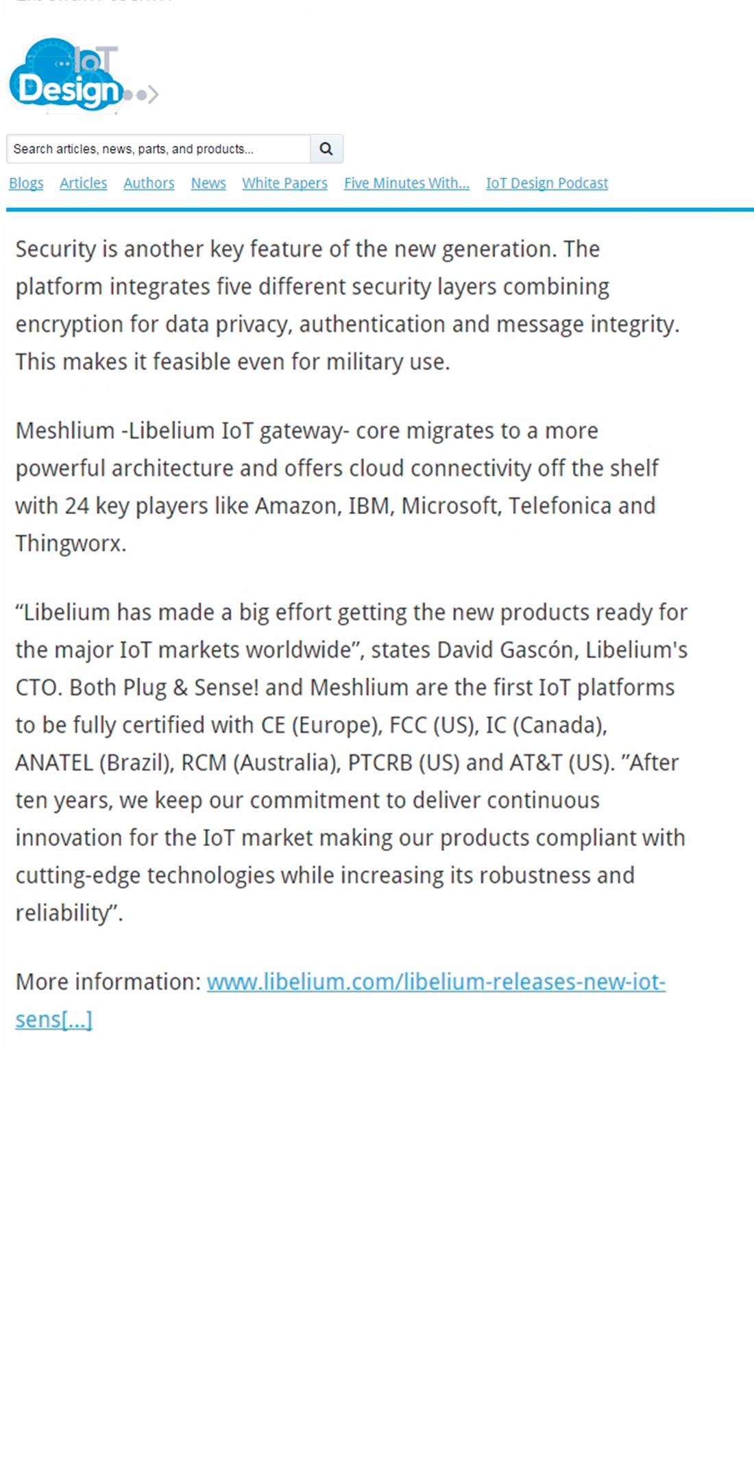 IoT Design – Libelium releases new IoT Sensor Platform worldwide certified