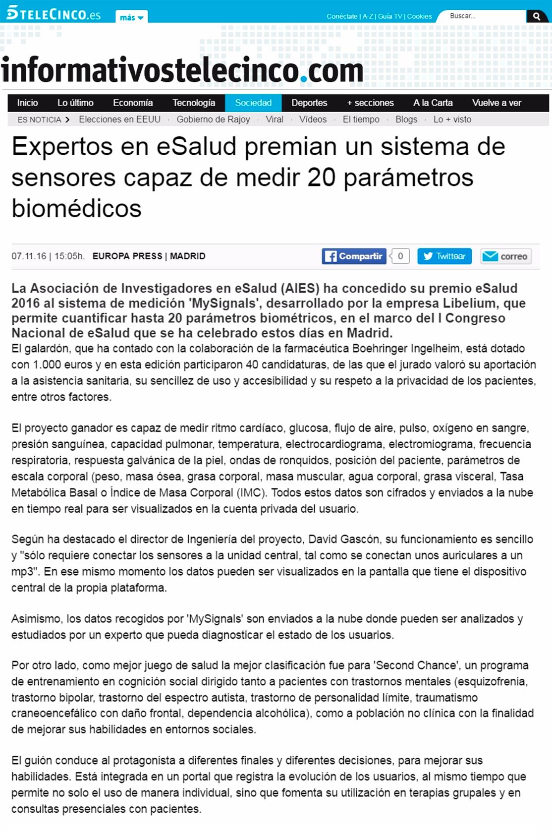 Telecinco.es – Expertos en eSalud premian MySignals