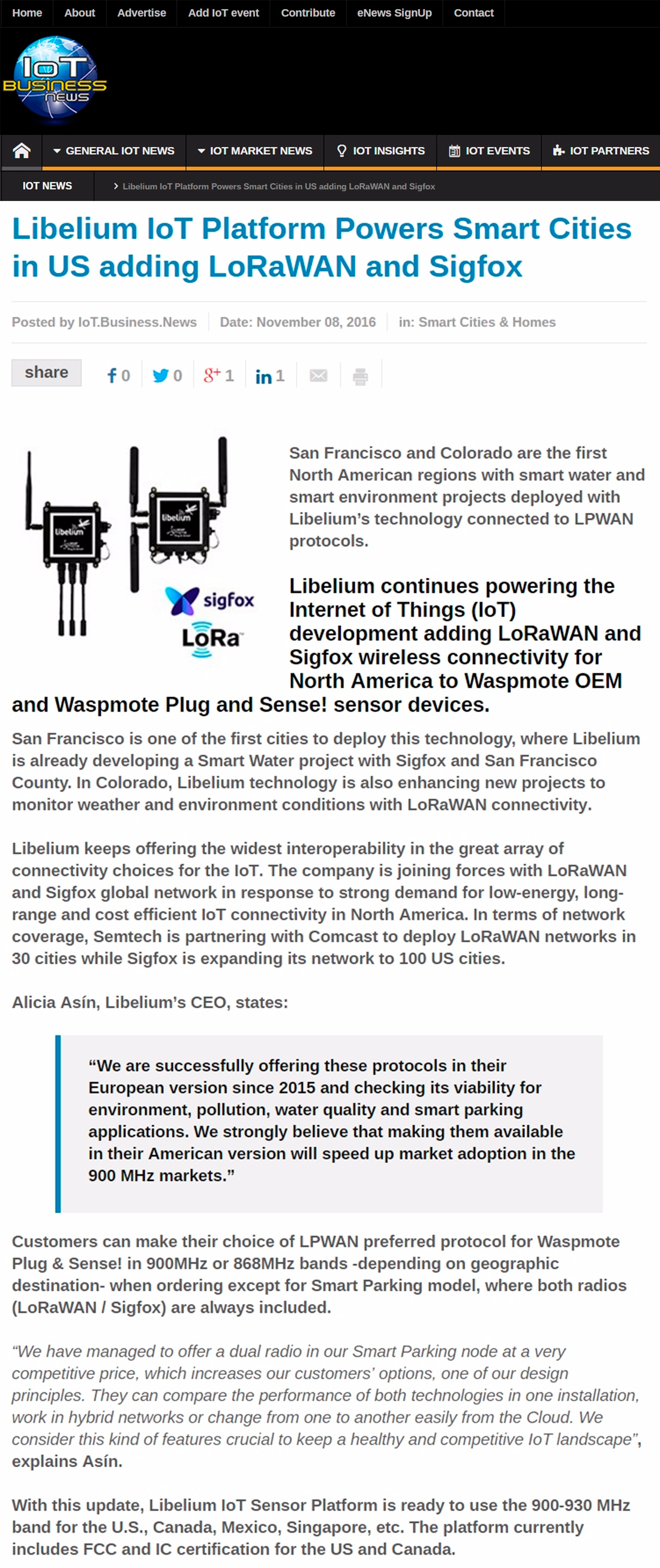 oT Business News – Libelium IoT Platform Powers Smart Cities in US adding LoRaWAN and Sigfox