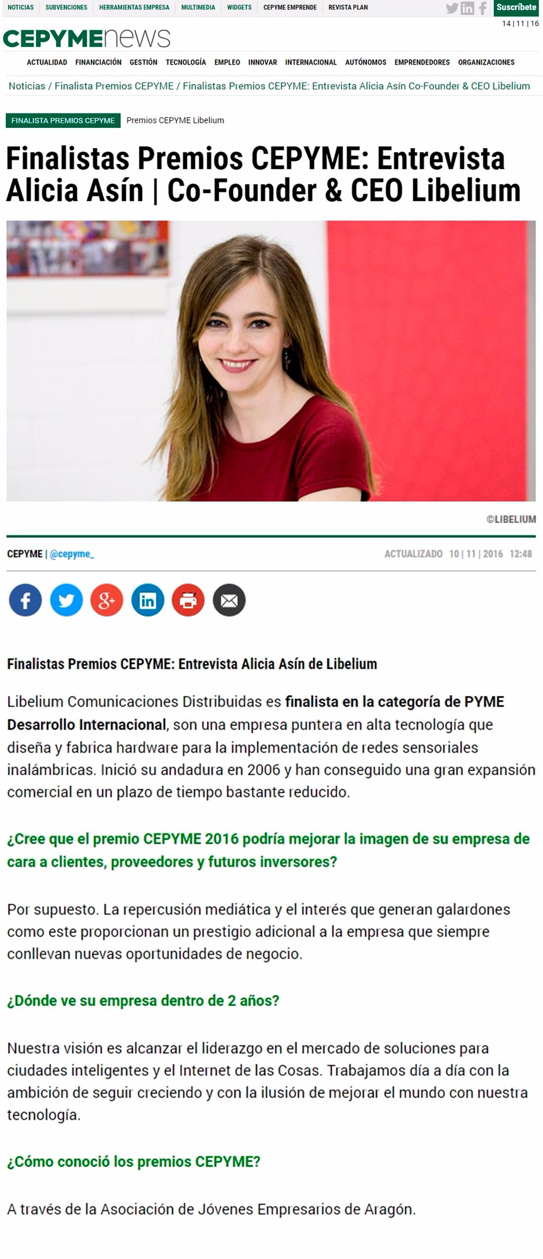 Cepyme News – Finalistas Premios CEPYME: Entrevista Alicia Asín