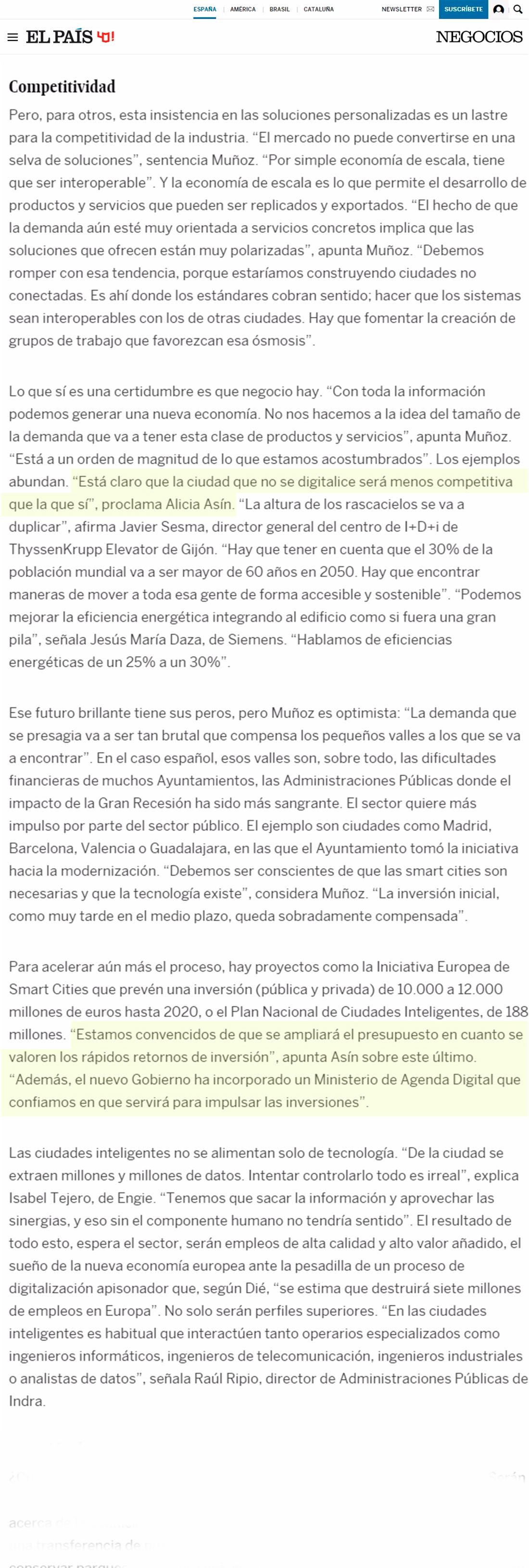 El País – Empresas para las ciudades del mañana