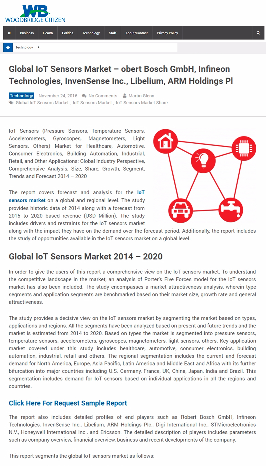 Woodbridge Citizen – Global IoT Sensors Market