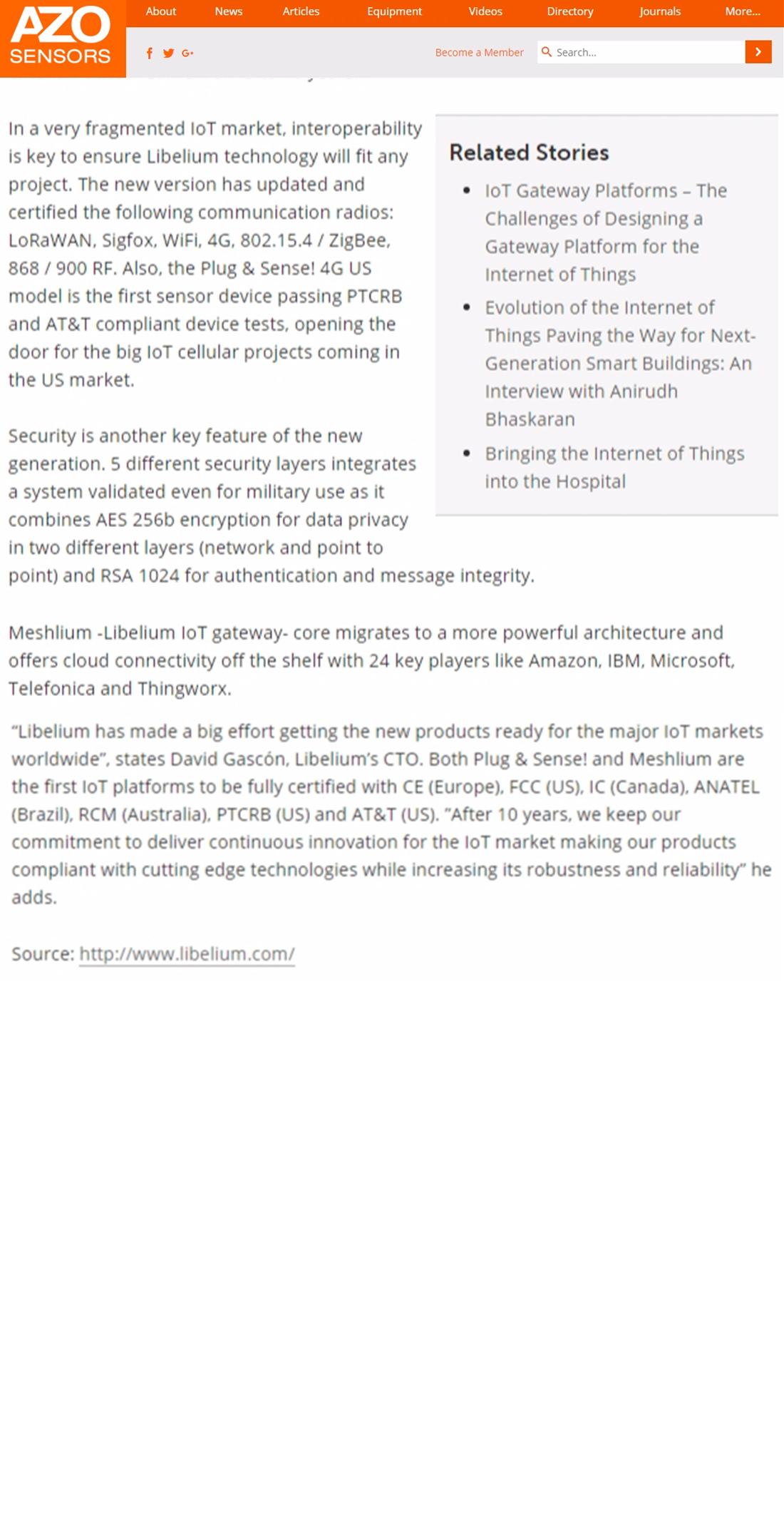 Azo Sensors – Libelium Launches Globally Certified Waspmote IoT Sensor Platform