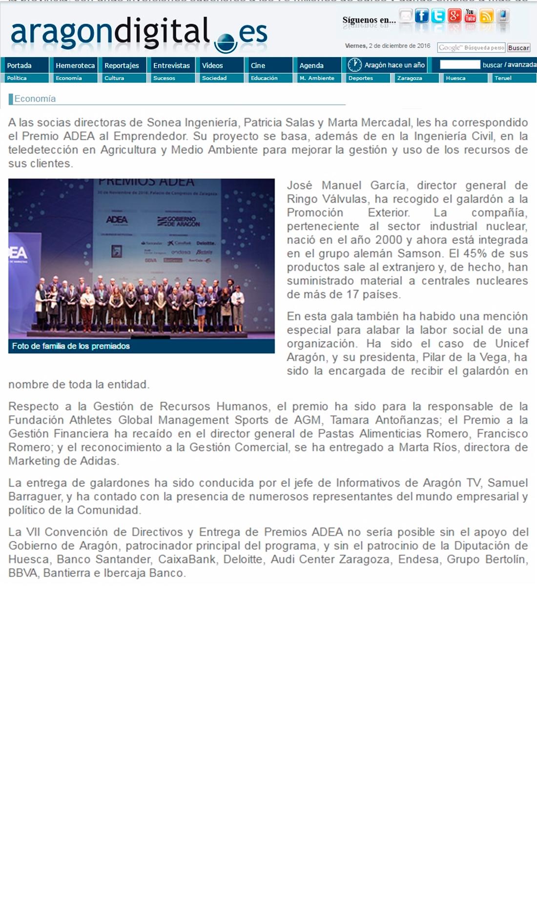 Aragón Digital – Alicia Asín, Premio ADEA a la directiva más destacada de 2016
