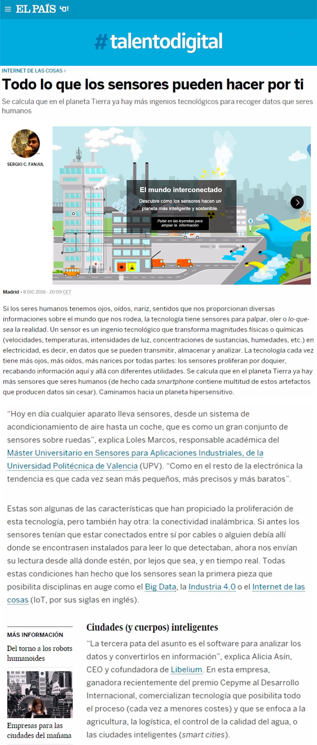 El País – Smart Cities: Todo lo que los sensores pueden hacer por ti