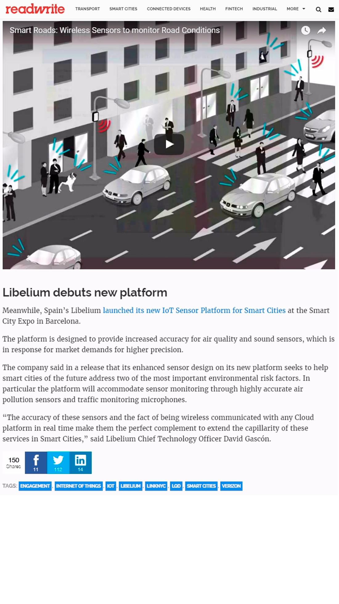 Readwrite – Lots of smart city deal action with Libelium, Verizon as space heats up